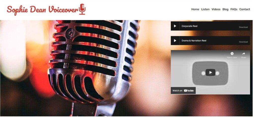 Homepage of sophie dean's squarespace website design